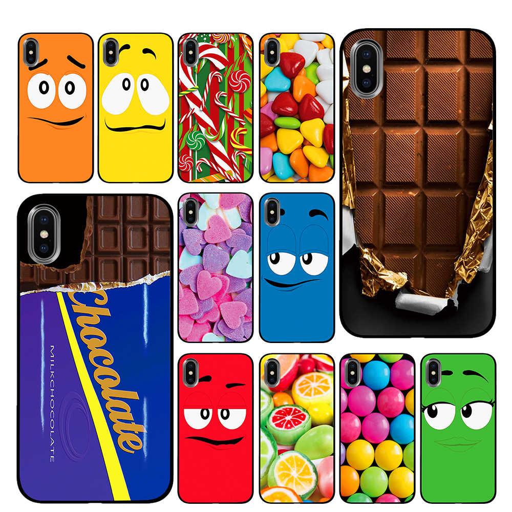 חמוד שוקולדים קריקטורה שחור מקרי טלפון עבור iPhone 5 5S SE 6 6s 7 8 בתוספת X XS מקסימום XR חזרה כיסוי
