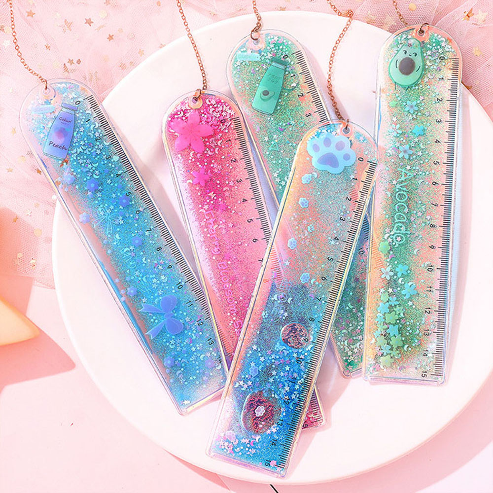 1Pcs Bookmarks Cartoon Quicksand PVC Drawing Ruler Student Lovely Pendant Bookmark Stationery School Supply
