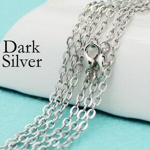 Image 3 - 100 pcs   Antique Silver Plated 18 Cal naszyjnik łańcuch, 18 Cal kabel naszyjnik, owalny Link Chain naszyjnik, 18 Cal naszyjnik łańcuch