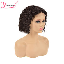 Brazilian Human Hair Wigs Short Water Curly Bob Wigs Pre Plucked With Baby Hair Water Wave WIg 4x4 Lace Front Younsolo hair(China)
