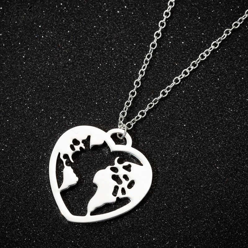 Jisensp Colar da Forma Do Coração de Aço Inoxidável Nova Chegada Mapa Do Mundo Charme Colar Bijuterias para Mulheres Meninas Presente de Natal