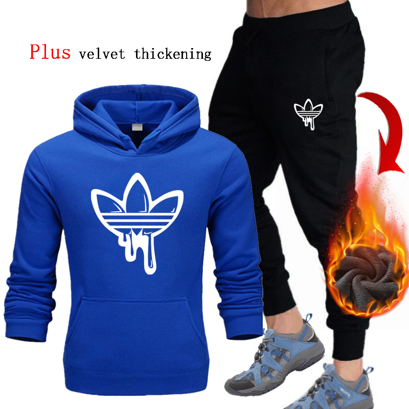 Men's Plus Thick-velvet Hoodies Two Pieces Set Casual Tracksuit  Men New Sweatshirts Winter Men Brand Clothes Hoodies+Pants Sets