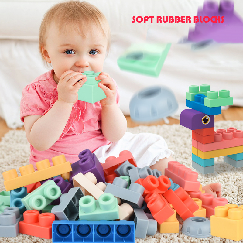 20-80pcs Baby Grasp Toy Building Blocks 3D Touch Hand Soft Balls Baby Massage Soft Rubber Teethers Squeeze Toy Bath Ball Toys