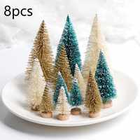 8pcs Christmas Fake Pine Tree Small Mini Sisal Bottle Brush Xmas Santa Snow Frost Village House Decor