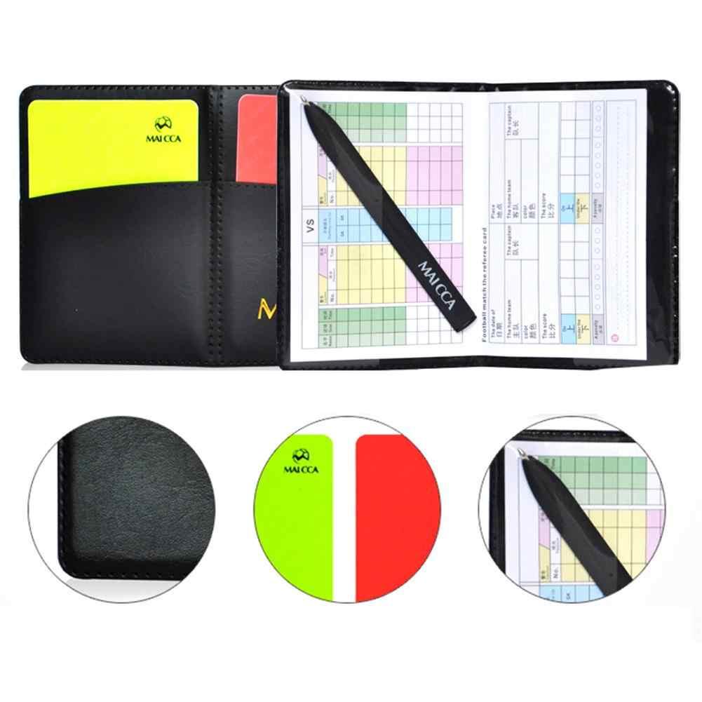 サッカー赤と黄色のカード記録レッドカードイエローカード審判ツール機器レザーケースとボールペン