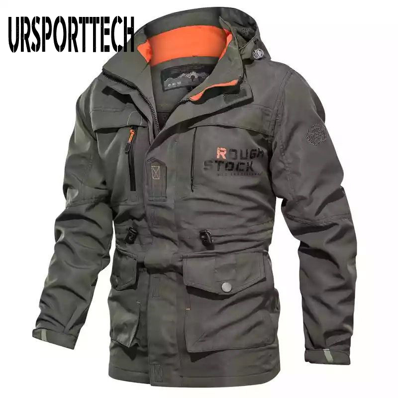Autumn <font><b>Winter</b></font> Mens Bomber <font><b>Jacket</b></font> Multi-pocket Waterproof <font><b>Military</b></font> Tactical <font><b>Jackets</b></font> Hooded Windbreaker Men Coat Outdoor Stormwear image
