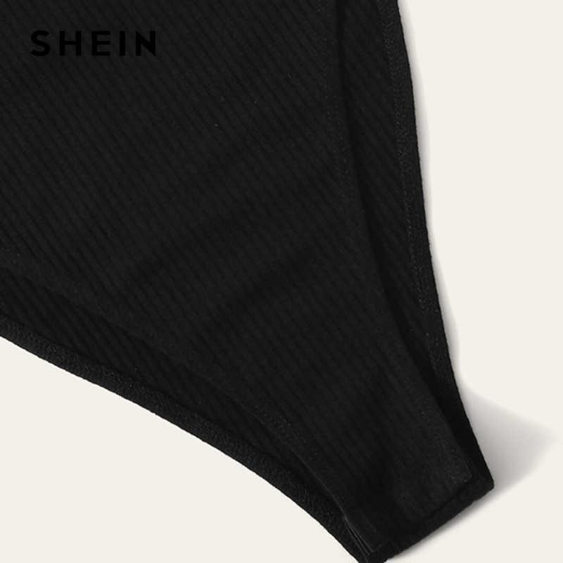 SHEIN черный однотонный ребристый вязаный на пуговицах спереди Повседневный купальник для бассейна для женщин 2019 Лето Без Рукавов облегающие джинсы до пояса Laies боди