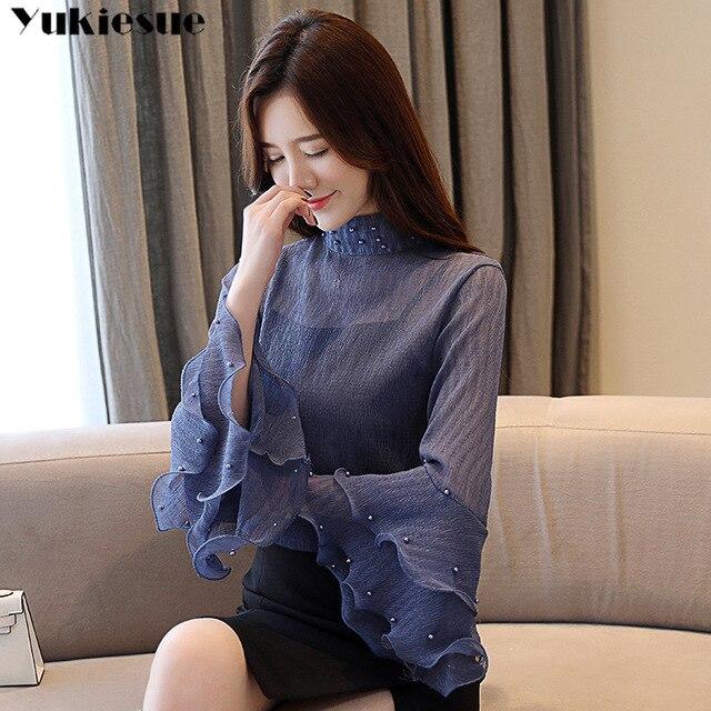 fashion womens blouses beading pink chiffon blouse shirt long sleeve women shirts womens tops and blouses blusas femininas 5