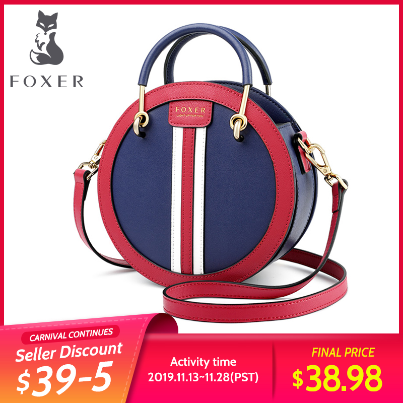 FOXER Mini Round Handbag England Style Women Mini Tote Elegant Small Female Leather Crossbody Bag Vacation Lady Messenger Bags