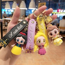Disney Frozen Princess Keychain Action Toy Figure Kawaii Cartoon Anime Mini Model Doll Keyring Girl Children Kids Toys Gift