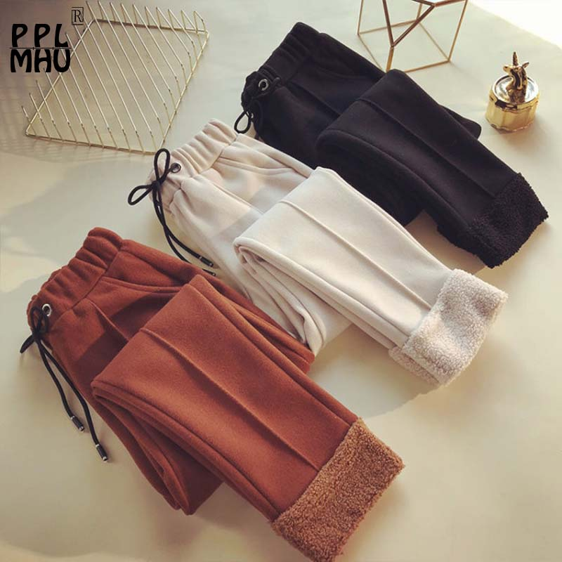 Winter New High Waist Woolen Cotton Pants Korean Casual Carrot Thickening Feet Trousers 2019 Fashion Slim Large Size Warm Pants