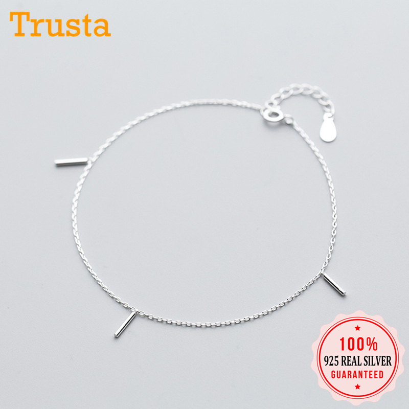 Trusta 100% 925 Solid Real Sterling Silver Fashion 3 Stick 21cm Sweet Anklets For Girl Women Fine Anti-allergy Jewelry DS1162