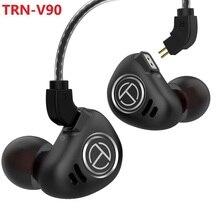 Newest Fashion TRN V90 HIFI DJ Monitor Running Sport Earphone 1DD+4BA Hybrid In Ear EarphoneEarplug Headset with 2PIN Detachable