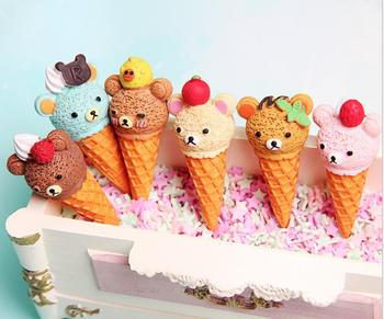 Kawaii Food Resin Cabochon Cartoon Miniature Bear Ice Cream Resin Cabochons Scrapbooking Accessories DIY Decorative Craft