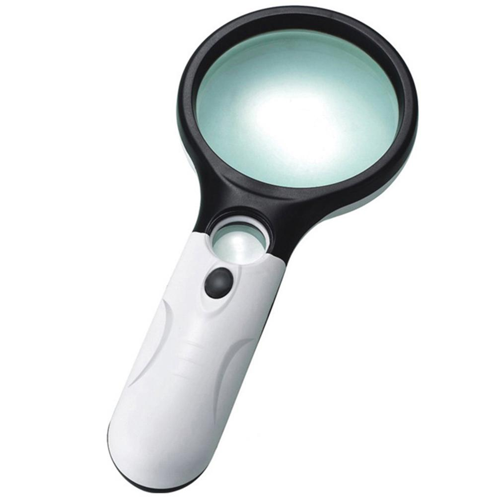 Studyset Mini Pocket Double Mirror Reading 3 LED Light 45X Magnifying Glass Lens Handheld Microscope Reading Jewelry Loupe