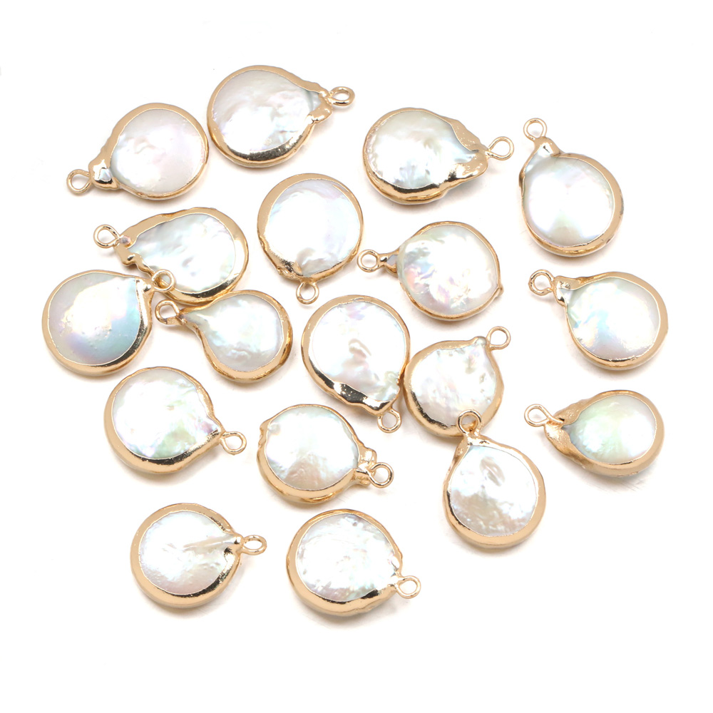 Natural Freshwater Pearl Pendants Round shape Charms Pendants For jewelry making DIY Accessories Fit Necklaces size 15x20mm