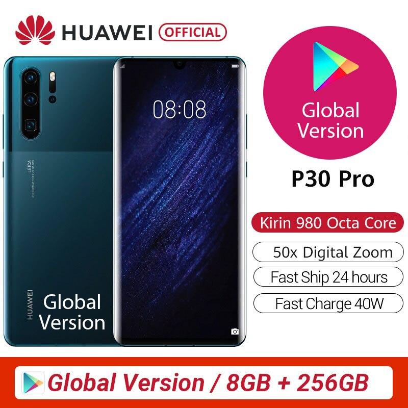 100% orijinal küresel sürüm Huawei P30 Pro MobilePhone 6.47 8GB 256GB Kirin 980 Octa çekirdek Android 10 ekran kadar 50x zoom