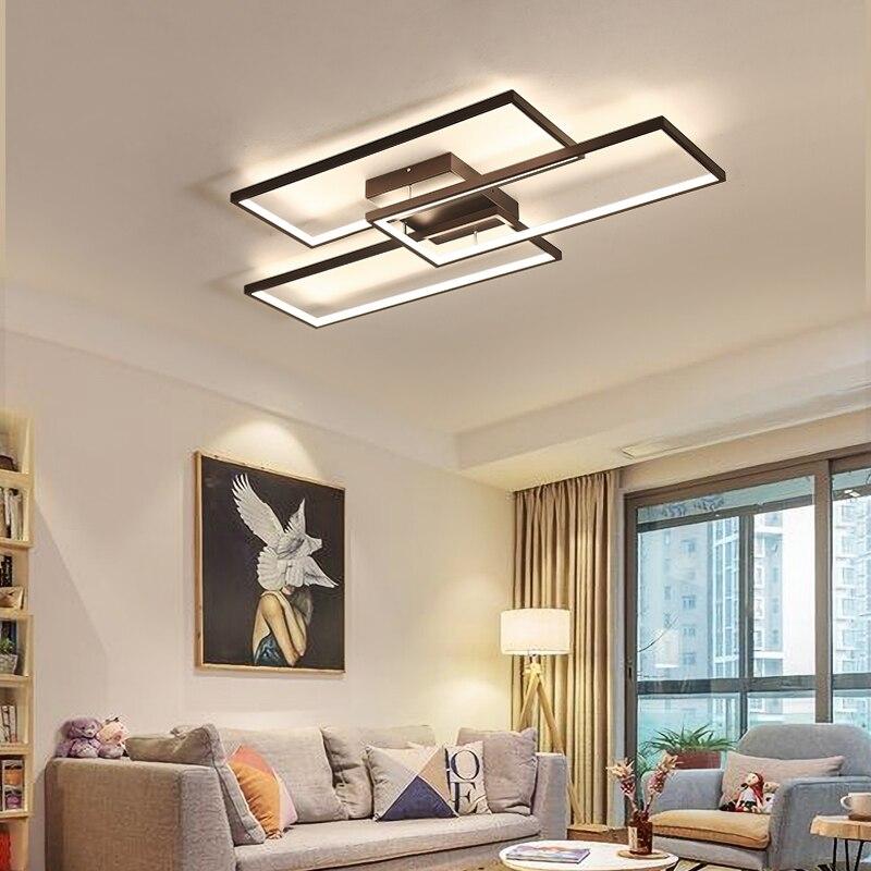 NEO Gleam Rechteck Schwarz/Weiß Farbe Moderne Led Kronleuchter für wohnzimmer schlafzimmer 110V 220V deco Dimmbare decke Kronleuchter