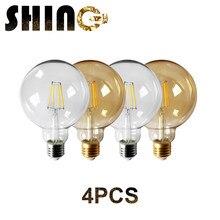 4pcs/Lot 2021 Rushed Sale Ce RoHS Decor Retro Edison Led Filament Bubble Ball Bulb G95 E27 6w 220v for Home Bedroom Decoration