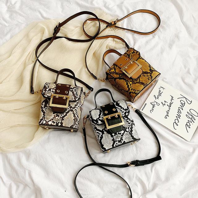 Serpentine PU Leather Crossbody Bags For Women 2019 Fall Mini Shoulder Messenger Bag Female Box Luxury Handbags and Purses
