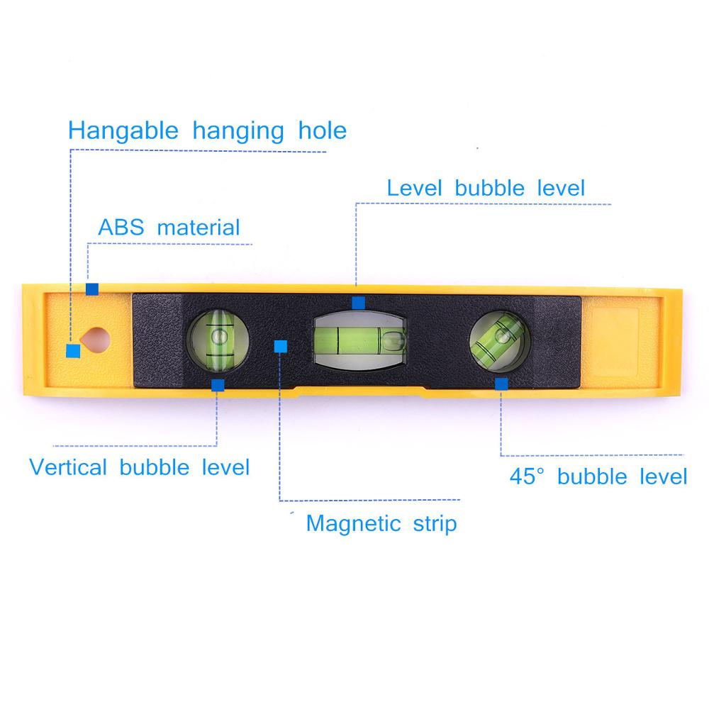 Image 2 - Hot 9'' Spirit Level Bubble Ruler Magnetic ABS Shell Vertical Horizontal 45 Degree Bubble Level Measuring Instrument Tool-in Level Measuring Instruments from Tools