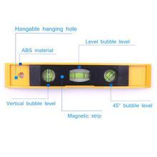 Quente 230mm 9.06 Polegada nível de espírito bolha régua magnética 3 nível bolha vertical/horizontal/45 graus nível instrumentos de medição