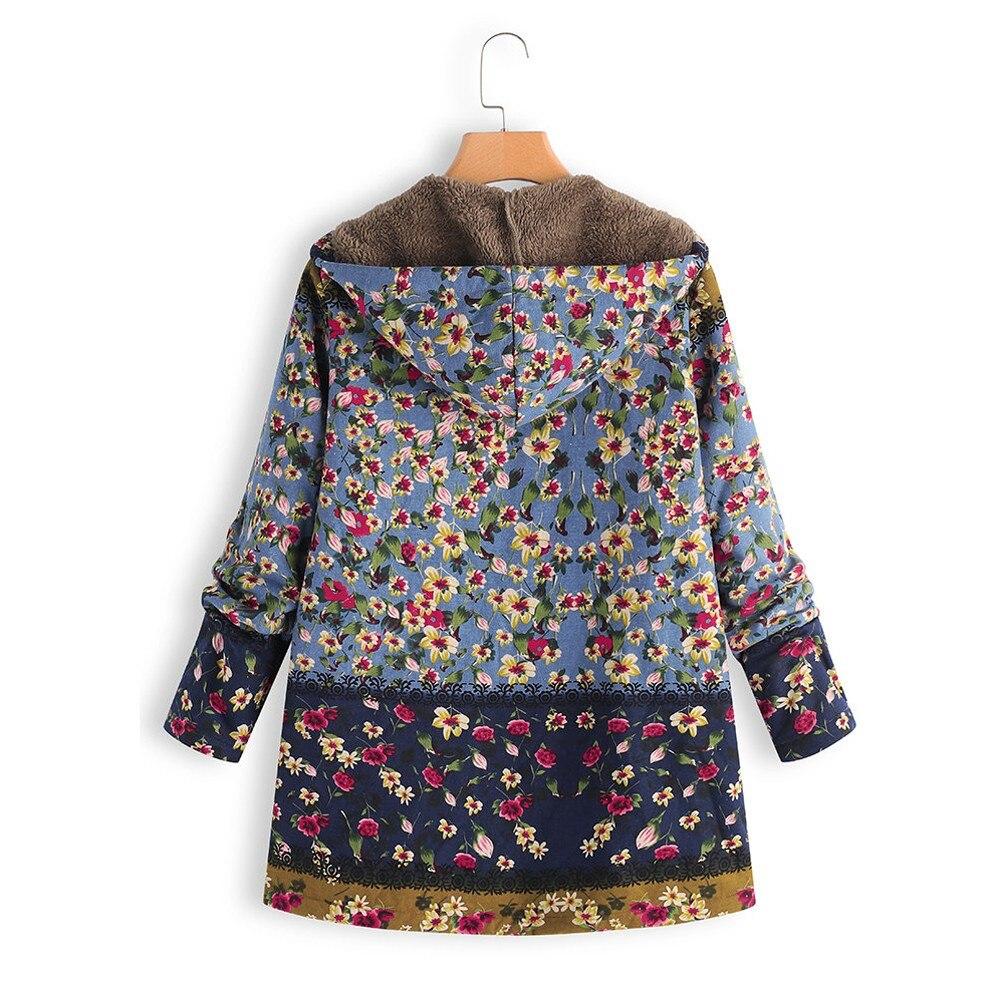 H153d99ea76ae44d08a3d343a94b8f3dfD Female trench coat women's windbreaker тренч ropa Winter Warm Outwear Floral Print Hooded Pockets Vintage Oversize Coats h4