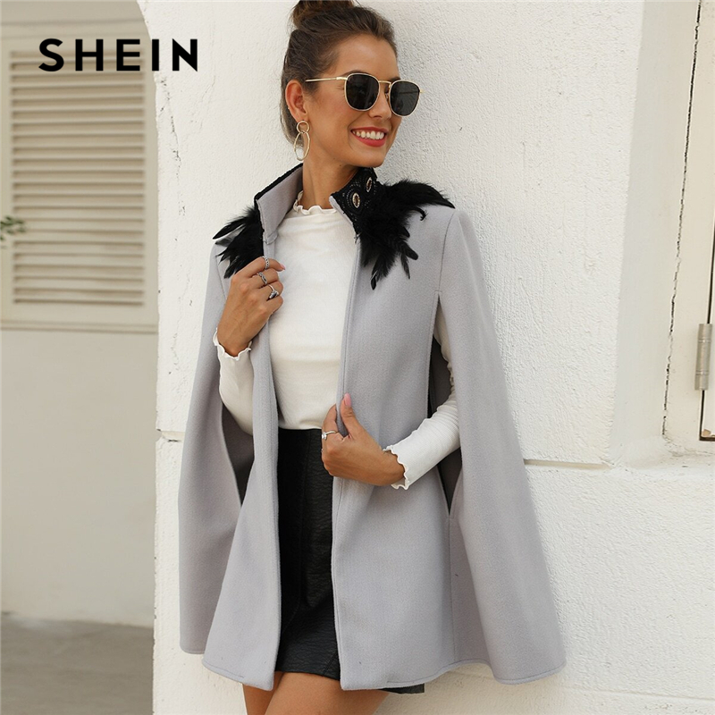 SHEIN Grey Contrast Feather Tweed Cape Coat Women Long Cape Sleeve High Street Outwear Spring Autumn Solid Elegant Coats| | - AliExpress