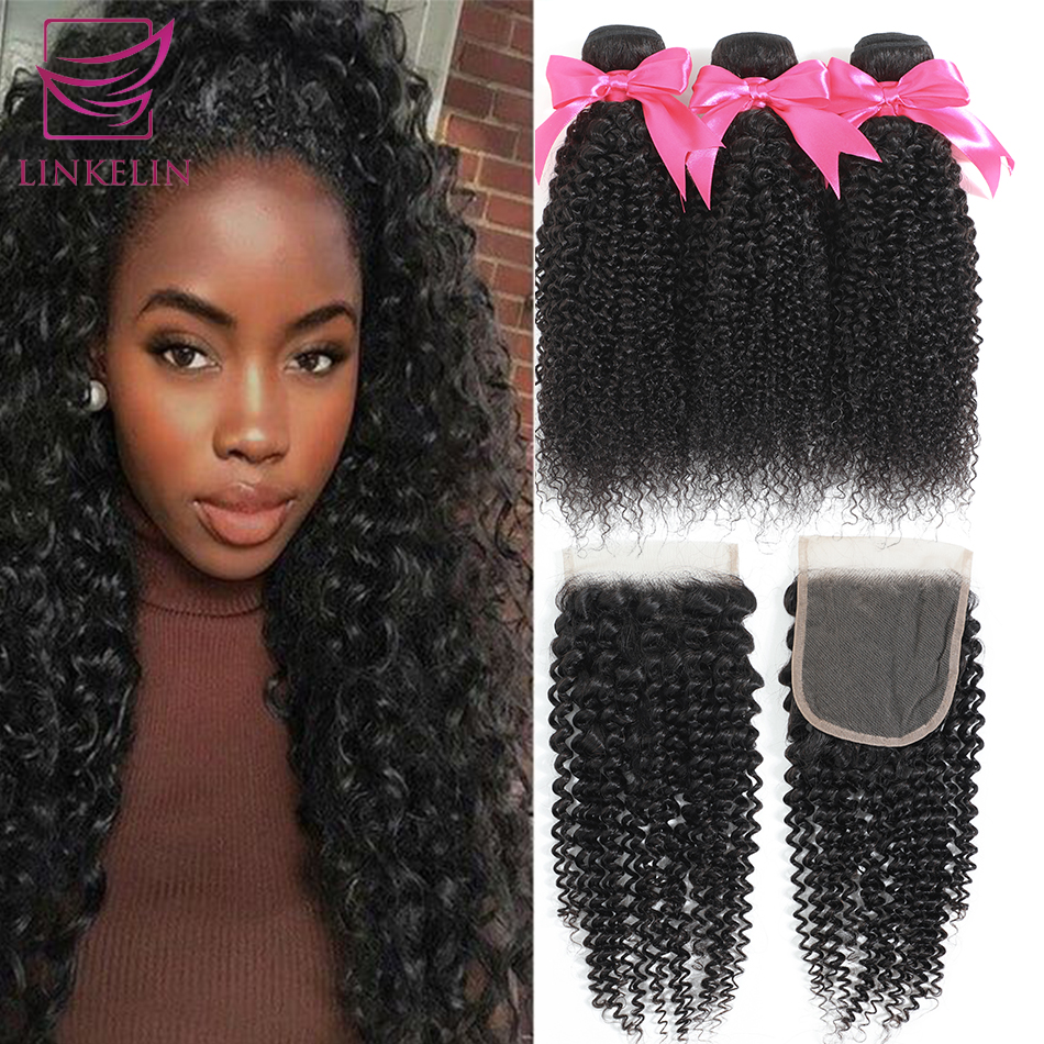 Brazilian Kinky Curly Human Hair Bundles With Closure LINKELIN HAIR Extensions 3 Bundles With Closure Remy Curly Bundles