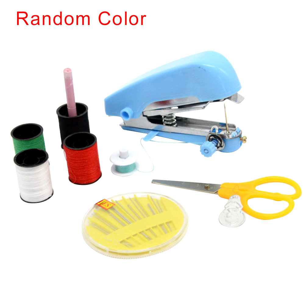 Beginners Needlework Tool Embroidery Home Travel Mini Manual Sewing Machine Crafts Portable Handheld Cordless Clothes Fabrics image
