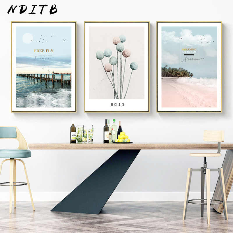 Indie Pop Ocean Bridge Flower Fashion Poster Nordic Wall Art Canvas Print Pink Landscape Painting Modern Decoration Picture
