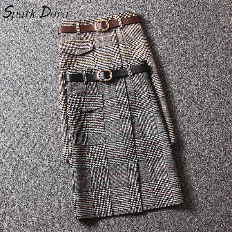 SparkDora Autumn Plaid Women Wool Skirts Fashion Vintage Slim Lady Elegant Straight Skirts Casual Street Fashion Female Bottoms