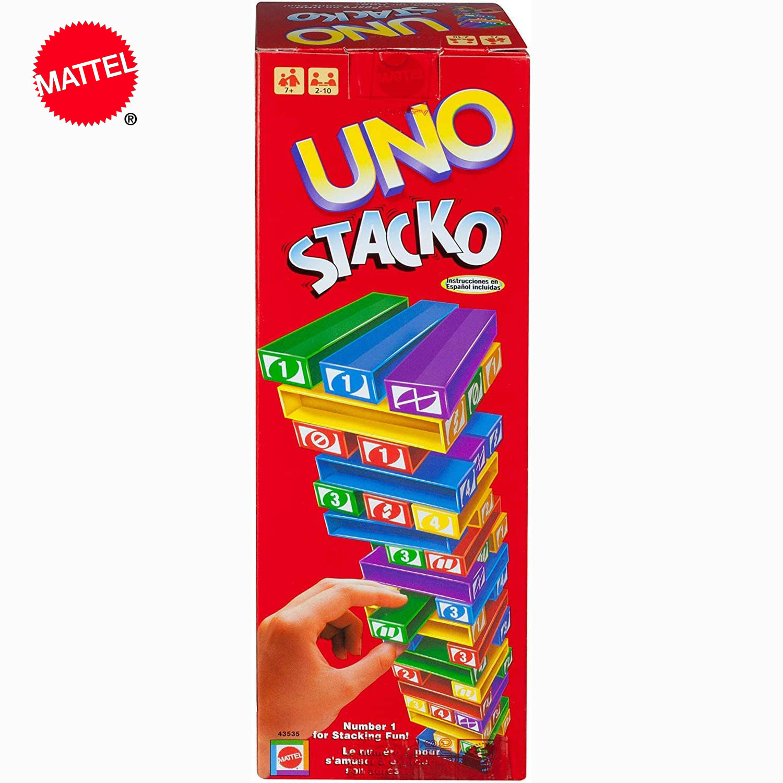 UNO Stacko Topple игра-головоломка семья забавное развлечение настольная игра Веселые игральные карты укладка игры подарочная коробка