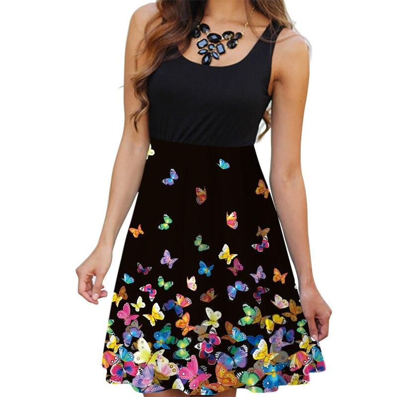 Summer Tank Sexy Mini Elastic Waist Dress Women Boho O-Neck 3D Butterfly Print Dress Casual Sundress Ladies Tunic Robe Vestidos