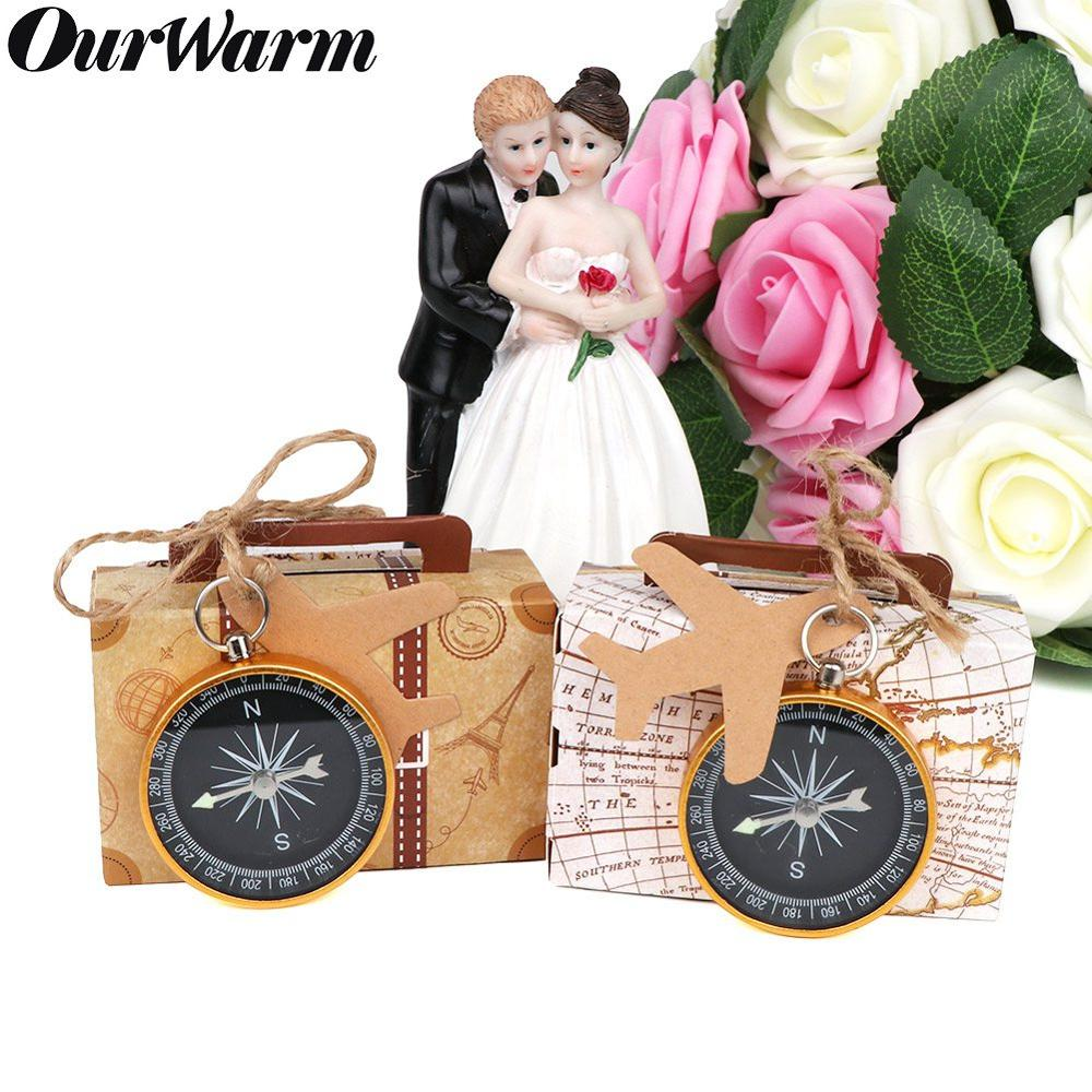 OurWarm Kraft Paper Candy Gift Box Mini Suitcase Gifts Bags Party Favors For Guests Wedding Baby Shower Birthday Decoratio