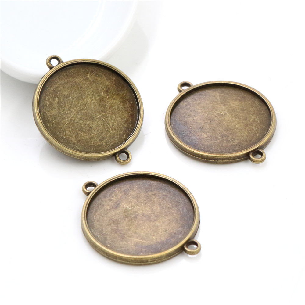 New Fashion 10pcs 25mm Inner Size Antique Bronze Double Side Classic Simple Style Cabochon Base Setting Pendant (A6-33)