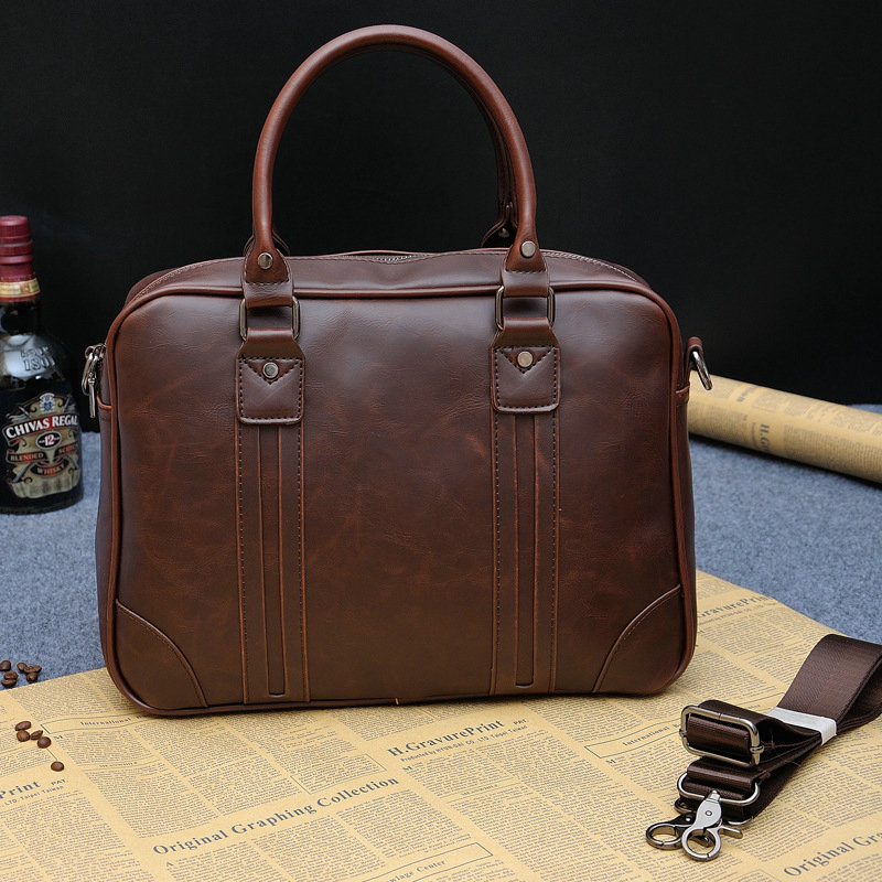 Men's Briefcase Portfolio Leather Shoulder Bag Office Belt Bag Messenger Men's Bag Over The Shoulder Laptop Bags