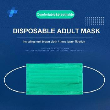 10/50/100/500pcs Disposable Face Mask 3 Layers Filter Meltblown Earloop Breathable Gauze Mask Dark Green Adult Face Mouth Masks
