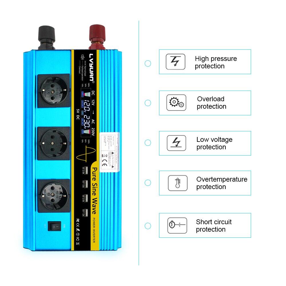 LCD 12000W power inverter DC 12V zu AC 220V 230V Konverter Versorgung Solar Power 4USB 4FAN mit 3AC EU STECKER drahtlose fernbedienung