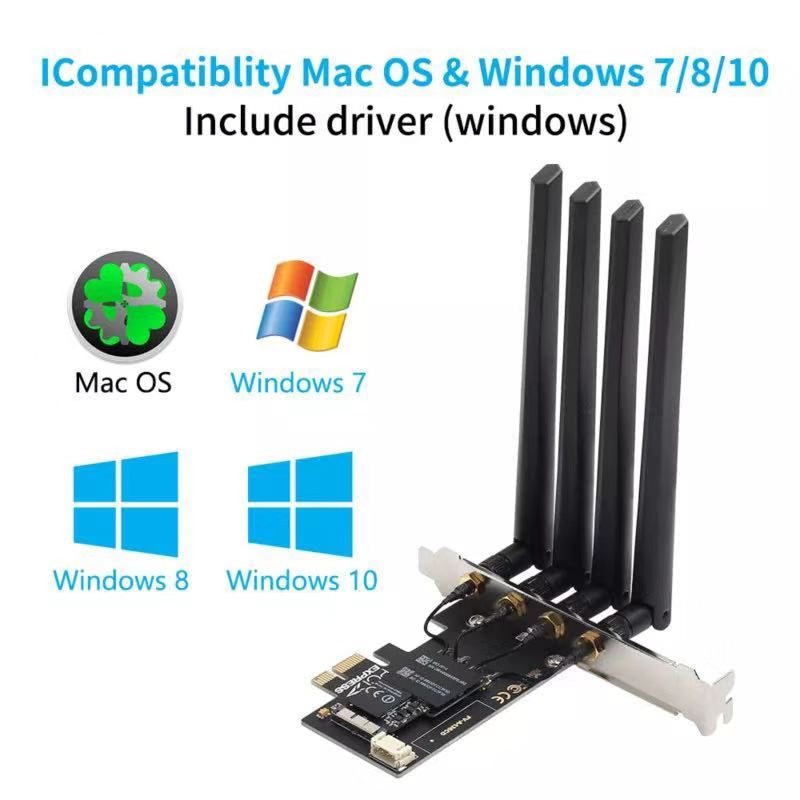 Dual band BCM94360CD Hackintosh PC 1750Mbps WiFi Bluetooth 4.0 PCI-E Adapter for MacOS Airdrop Handoff Continuity 802.11AC 6