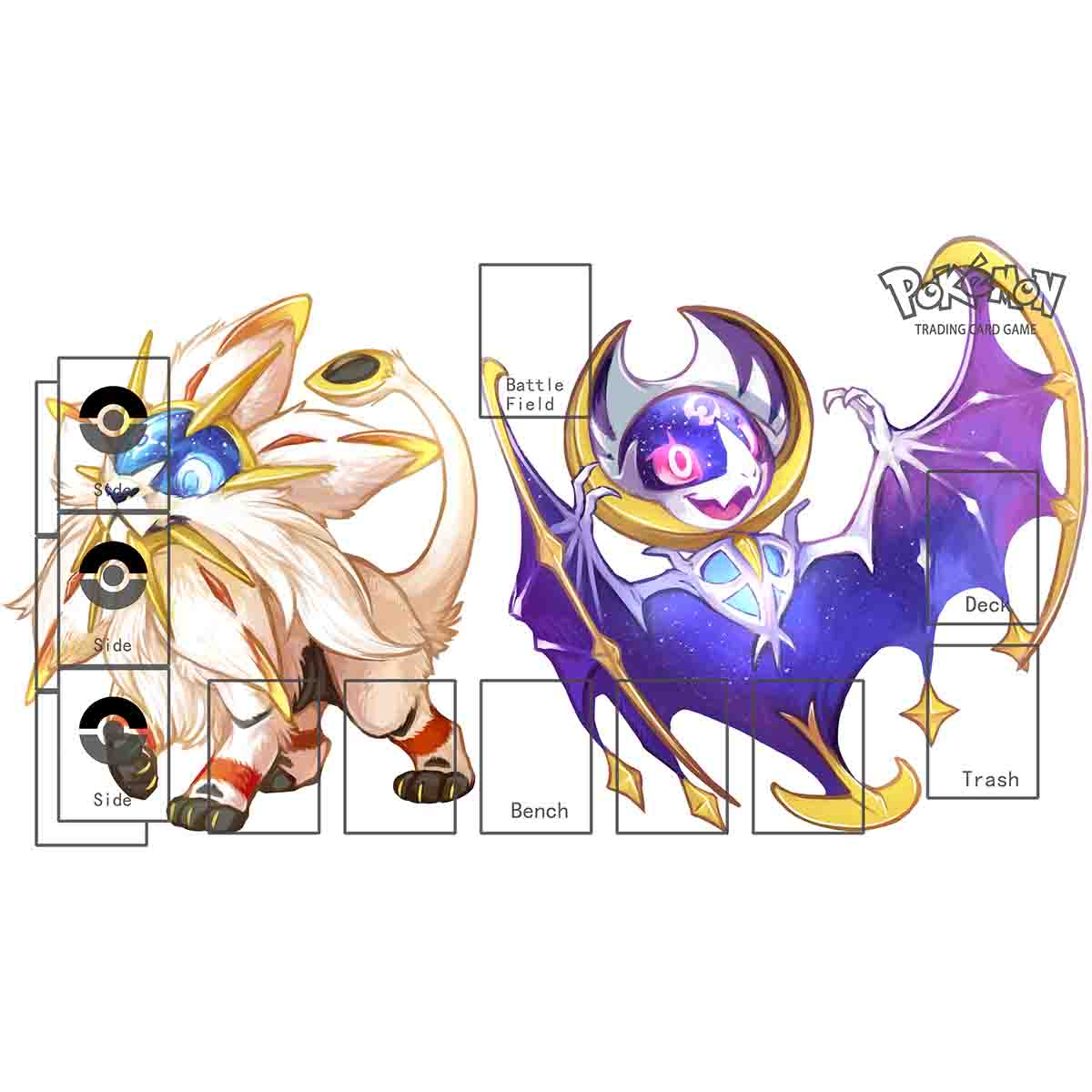 Tomy PTCG Accessories Pokemon SUN MOON Playmat Card Table Game Venusaur Blastoise Totodile Torchic Toys For Children
