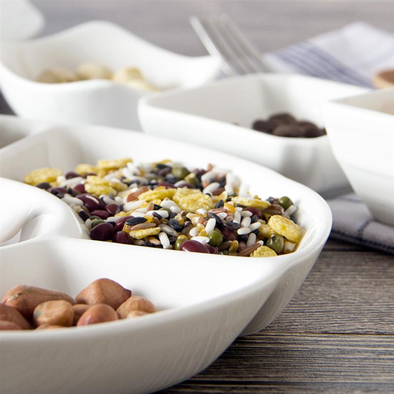 9-дюймовый 5-секционный Меламиновый поддон для хранения продуктов, сухофрукты, закуска, Сервировочная тарелка для конфет, кондитерских орехов-4