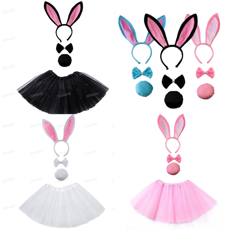 Bunny Ear Headband Set Black Pink White Tutu   Costume Hen Party Big Rabbit Ear Hairbands Cosplay Birthday Gift Carnival