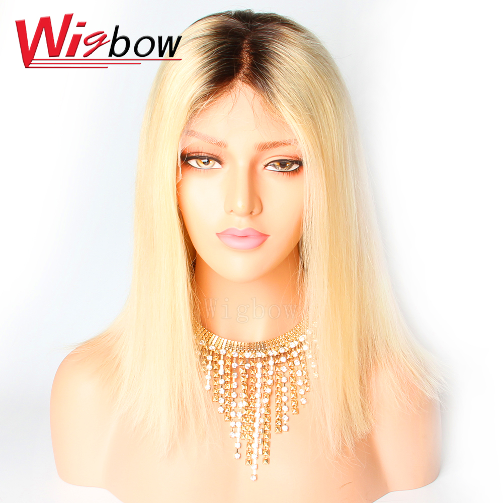 Brazilian Straight Lace Front Wig 1B 613 Blonde Ombre Lace Front Wigs Remy Human Hair Wig 150% Density For Women Wigbow Hair image