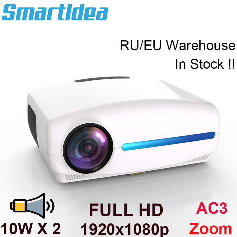Smartldea 1080P 4K Penuh HD Proyektor Android 9.0 Opsional, resolusi 1920X1080 P 6500 Lumen LED Projector Home Theater, 3D Beamer