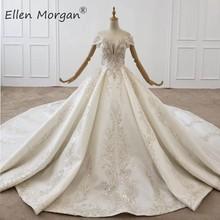 Luksusowe kryształy koronkowe suknie balowe suknie ślubne dla kobiet arabia saudyjska elegancka księżniczka długie rękawy zroszony suknie ślubne 2020