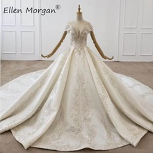 Luxury Crystals Lace Ball Gowns Wedding Dresses for Women Saudi Arabian Elegant Princess Off the Shoulder Bridal Gowns 2020