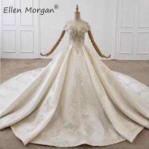 Image 1 - Luxus Kristalle Spitze Ballkleider Hochzeit Kleider für Frauen Saudi Arabischen Elegante Prinzessin Langen Ärmeln Perlen Brautkleider 2020