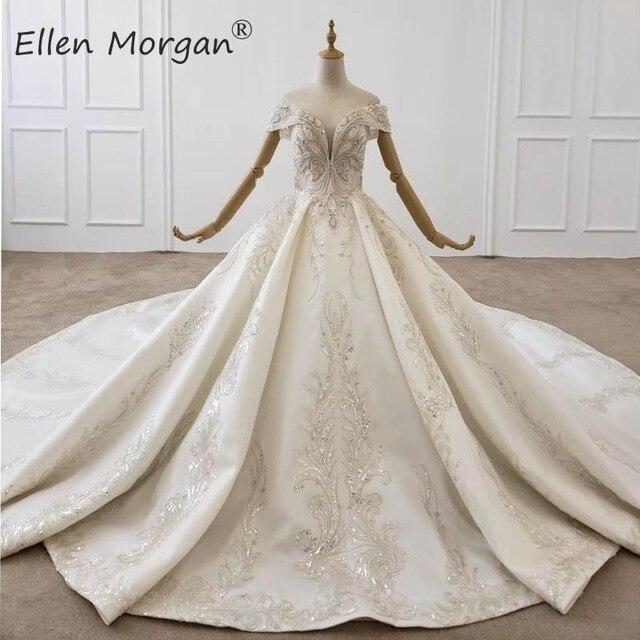 Luxus Kristalle Spitze Ballkleider Hochzeit Kleider für Frauen Saudi Arabischen Elegante Prinzessin Langen Ärmeln Perlen Brautkleider 2020