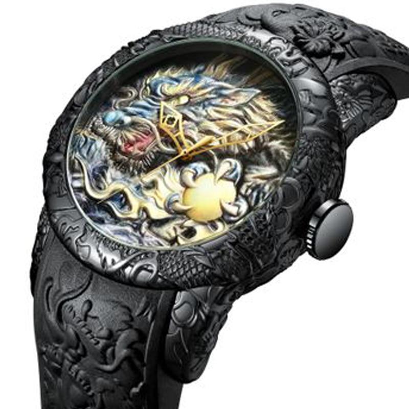 Мужские кварцевые часы с рельефным рисунком дракона